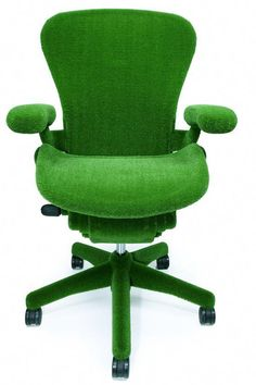 The collaboration between Japanese botanic artist Makoto Azuma and furniture designer Herman Miller led to the creation of an unusual version of the Aeron Chair. This AstroTurf covered chair delivers all the important features of the Aeron Chair, with the Go Green, Green Colors, Green Life, Kelly Green, Green Grass, Bright Green, Chair Design, Furniture Design, Office Furniture