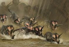 A herd of Triceratops leaping into a river. From Dinosaurs In The Wild with graphics by Impossible Pictures