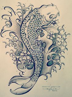 Koi Fish Tattoo by ~mardiyaha on deviantART, A tattoo design for a friend of mine. I would very much appreciate it if you do not use this for your own tattoo. Please ask before using this image for your own use, thank you.