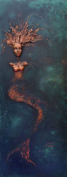 "Saatchi Art Artist Dr Franky Dolan; Painting, ""Mermaid Wall Sculpture Relief - SOLD"" #art"