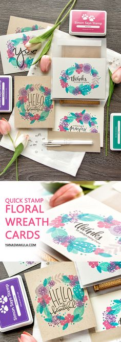 Create Quick Stamp Floral Wreath Cards. Using Feather & Florals stamps from WPlus9, yummy vibrant ink colors from Simon and various messages also from Simon Says Stamp. Watch video tutorial and see more on my blog http://www.yanasmakula.com/?p=57046
