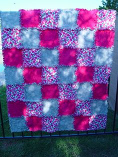 Pink and Gray Heart Throw Rag Quilt   Ready to Ship by AuntBugs, $107.75
