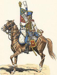 """Maréchal des Logis chef porte aigle, 1807, d'après L. Rousselot, """"Soldats d'autrefois"""", série 2. Collection de l'auteur."""