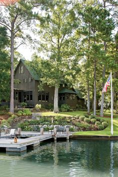Cabins And Cottages: Year Round Lake House - Naturally Inspired Georgia. Casa Hotel, Rustic Lake Houses, Round Lake, Modern Lake House, House Landscape, River House, New Home Designs, Backyard Landscaping, Landscaping Ideas