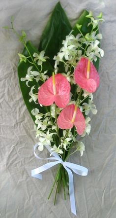 Akala Pink Anthurium Hawaiian Wedding Bridal Bouquet