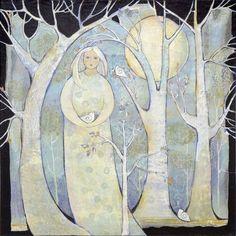 my new acrylic painting. In the studio of Sue Davis and Steve Vachon Art And Illustration, Art Du Collage, Art Fantaisiste, Figurative Kunst, Art Populaire, Angel Art, Whimsical Art, Tree Art, Fabric Art