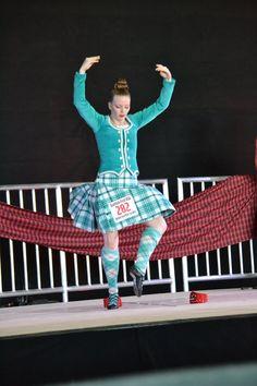 Kilt with turquoise jacket Scottish Highland Dance, Scottish Highlands, Tartan, Harajuku, Turquoise, Jackets, Dresses, Style, Fashion