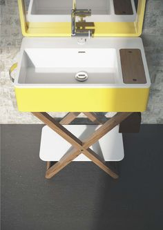 Washbasin with towel rail MY BAG by Olympia Ceramica design Gianluca Paludi