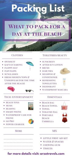 What to Pack for a Day at the Beach - so you have a perfect day at the beach. Beach summer holidays, packing list. Travel tips for summer holidays.