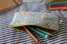 Federmappe, Stiftemappe aus ICAO-Karte, Landkarte selbstgenäht