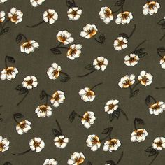 Viskose, Oliv mit Blumen