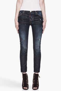 DSQUARED2 Blue distressed and paint-splattered Cool Girl Jeans