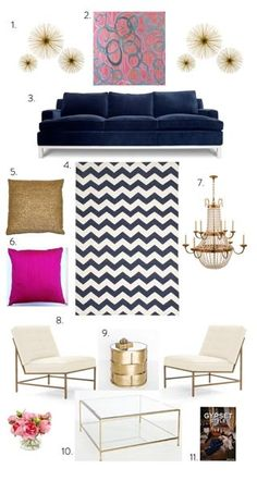 Office Decor: Navy, pink and gold decorating ideas, but I would skip the hot pink and go for a lighter blush color