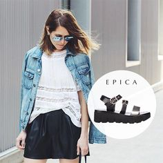 urban cool outfit summer 2015.  http://www.otter.ro/sandale-epica-negre-din-piele-naturala-wn48114dk3623999
