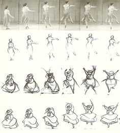 Actress Helene Stanley devised a light step dance for Merryweather cleaning the house with magic in Sleeping Beauty. Later work on the sequence determined that the action would be better seen in front view, which was no problem once the action was understood by the animator.