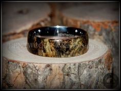 "Bentwood Ring - ""Ohio"" Buckeye Burl Wood Ring with Surgical Grade Stainless Steel Comfort Fit Metal Core - Bentwood Jewelry Designs - Custom Handcrafted Bentwood Wood Rings  - 2"