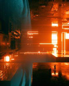 April Everyday 2018 on Behance Cyberpunk Aesthetic, Cyberpunk City, City Aesthetic, Sci Fi Environment, Environment Design, Dark Fantasy Art, Sci Fi Fantasy, Neon Noir, Futuristic Architecture