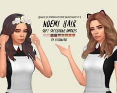 """[OG mesh unavailable] citrontart: """" 's noemi hair recoloured as requested by here's an ombre of one of her fave hairs! not sure why i was going for a maid theme here. but hope. Sims 5, Sims Four, Sims 4 Mm Cc, Sims 4 Cas, Maxis, Pelo Sims, Sims Games, Sims 4 Cc Finds, Sims Resource"""