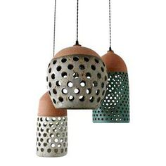 Image of Heather Levine Ceramic Pendant Lamps - Set of 3 Ceramic Light, Ceramic Pendant, Ceramic Art, Ceramic Lamps, Ceiling Lamp, Ceiling Lights, Handmade Lamps, Pottery Classes, Clay Design