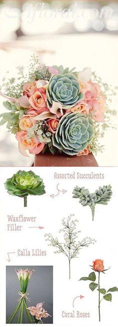 Fill you bohemian wedding with faux succulents and cheap wedding flowers from Afloral.com. Recreate your favorite Pinterest bouquets on your own with silk wedding flowers from Afloral.com. Faux succulents look like the real thing cost less and can be used in any of your DIY floral arrangements. Inspiration Bouquet by Bryan Butler | First Comes Love