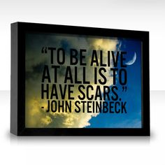to be alive at all is to have scars - john steinbeck