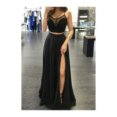 Rotita Black Cami Crop Top And High Slit Maxi Skirt Set (71 BRL) ❤ liked on Polyvore featuring dresses, outfit, black, sexy camisole, cropped cami, cropped camisoles, print cami and polyester camisole