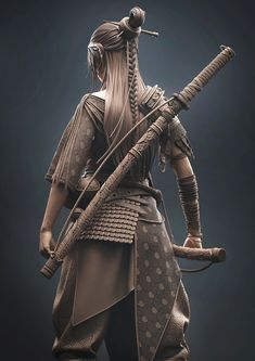 Fantasy Samurai, Zbrush Models, Semi Realism, Oni Mask, 3d Figures, Character Modeling, Little My, Sculpting, Sculptures