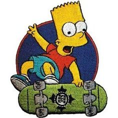 Simpsons Bart on Skateboard iron-on / sew-on patch (SQ shaped)