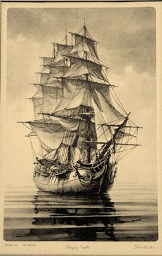 'Drying Sails' signed(John)Sunshine Print-Limited Edition LithSmall #471 Bounty #Nauticle