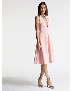 Halston | Pink Bonded Crepe Dress With Cut Out | Lyst Dress Lyst...