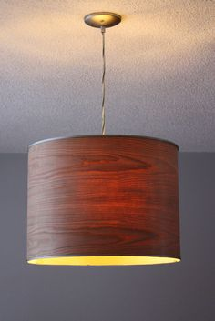 Ikea Rutbo turned Wood Veneer Pendant:  Turn a nondescript Ikea lamp into a stylish talking piece all with a bit of wooden veneer!