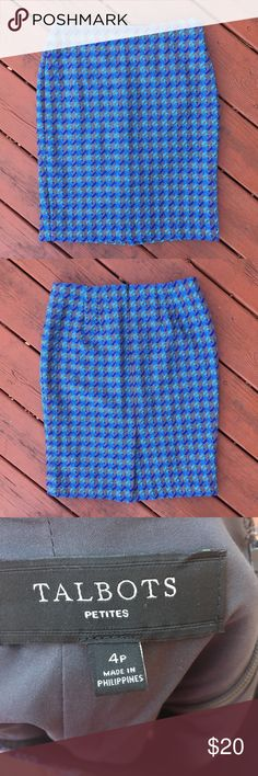 Talbots Blue Checkered Wool skirt. Talbots Blue Checkered Wool skirt. In excellent used condition with no stains, holes, loose threads or other flaws. Gorgeous blue and grey print make this perfect for year round wear. Talbots Skirts Pencil