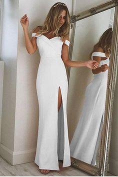 Off Shoulder Short Sleeves Side Split Long Party Dress
