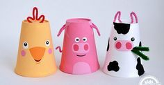 Super simple and cute set of three farm animals made from styrofoam cups. Cow, Chick and Pig Foam Cup Crafts by MollyMooCrafts for KidsActivitiesBlog