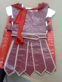 Picture of a gladiator costume made from duct tape and t-shirts. Roman Soldier Costume, Warrior Costume, Nativity Costumes, Diy Costumes, Halloween Costumes, Roman Costumes, Archaeology For Kids, Duct Tape Dress, Gladiator Costumes