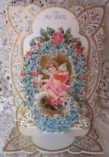 Vtg 60s HALLMARK Die Cut VALENTINES DAY Card CHERUB Roses DOVE Stand Up 3D WIFE Vintage Valentine Cards, Cherub, Valentines Day, Decorative Plates, Roses, 3d, Frame, Valentine's Day Diy, Picture Frame