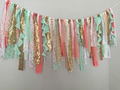 Coral Mint & Gold sequin curly fabric garland by ohMYcharley