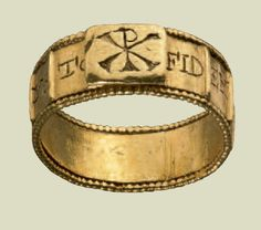 Bearing an inscription swearing  allegiance to the emperor Constans  (337-350), this ring may have been  an imperial gift to a military officer.