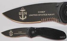Kershaw 1670BLKST US NAVY CHIEF laser engraved knife