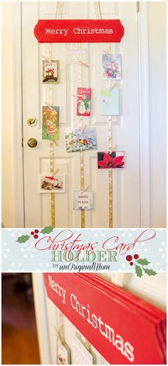 "DIY Hanging Christmas Card Holder - great way to display lots of Christmas cards without taking up flat space!  Could have the plaque say """"Merry Mail"""