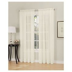 "Erica Crushed Sheer Voile Rod Pocket Curtain Panel Eggshell 51""x84"" - No. 918"