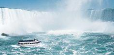 Riding the Maid of the Mist Boat at Niagara Falls.