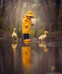 This shows rule of thirds because the boy and the ducks aren't centered, they are up higher in the picture-Hope Funderburg