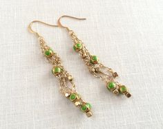 Long dangle chain earrings, green and gold by JJewelryDesign