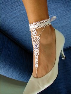 Tatted white barefoot sandals - oldest likes just the anklets part