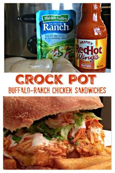If you love Buffalo-style chicken wings and Frank's Buffalo RedHot Wings Sauce, this is a recipe you must try - Crock Pot Buffalo-Ranch Shredded Chicken Sandwiches! These sandwiches are kickin' with flavor and are a Buffalo Ranch Chicken, Shredded Buffalo Chicken, Buffalo Chicken Wraps, Buffalo Chicken In Crockpot, Chicken Cooker, Shredded Chicken Sandwiches, Buffalo Chicken Sandwiches, Shredded Chicken Recipes, Chicken Quesadillas