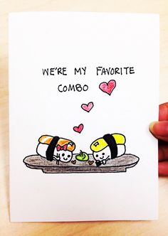 We're my favorite combo cute and funny sushi card, funny love card, sushi pun card by LoveNCreativity