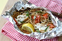 Tasty Kitchen Blog Grilled Pasta Packets by Ree Drummond / The Pioneer Woman, via Flickr *** I'd add hot sausage.