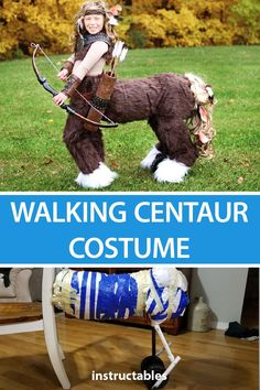 "Cosplay Costume This centaur costume is custom made to make the back legs ""walk"" when it rolls across the ground. Check out the video to see it in action."