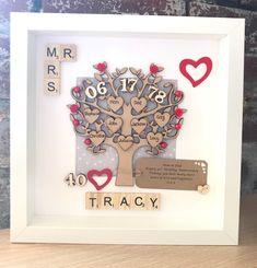 Ruby wedding anniversary gift. Parents wedding anniversary. Family tree anniversary gift. Includes up